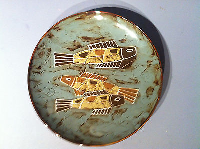 "Vintage Ling Chi WALL PLATE 10"" Jinzhou Pottery Glazed Fishes Design"