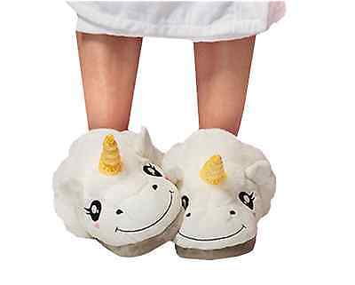 New Christmas White Unicorn Plush Indoor Slippers Home Shoes One Size Fit All