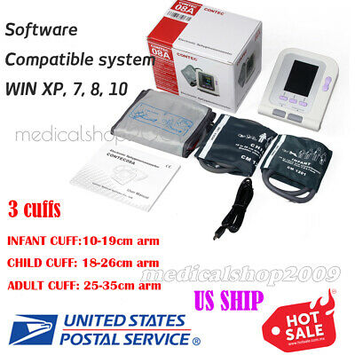 U.S.Stock CONTEC08A Digital automatic blood pressure monitor+3 Cuffs+spo2 probe