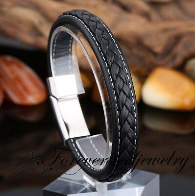 Fashion Mens Jewelry With Genuine Leather Chain Silver Buckle Bracelet 7.87inch