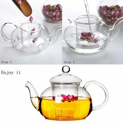 Heat Resistant Glass Teapot with Infuser Coffee Tea Leaf Herbal 350ML-1000ML NEW