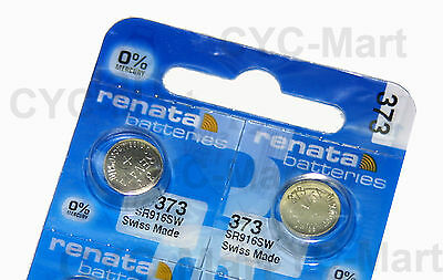 2 pcs x Renata 373 SR916SW Silver Oxide Watch Battery, Swiss Made FREE POST WW