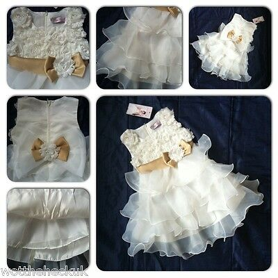Girls Christening Bridesmaid Party Dress Ivory Bow Tutu Chiffon Pearl Flower