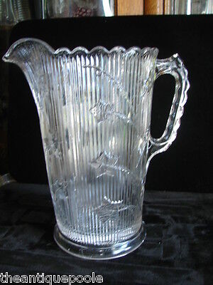 1850-1880's Portland US EAPG Ribbed Southern Ivy Pattern Glass Water Pitcher