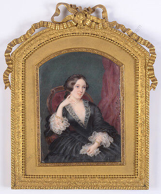 """Mlle Sidonie Berthon (1817-1871) """"Lady in arm chair"""", large miniature, 1852"""
