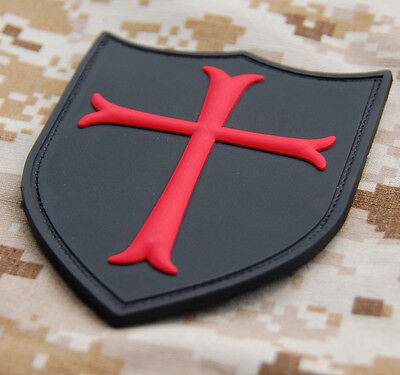 3D PVC Cross Crusader Shield Rubber Tactical SEAL Black Red  VELCRO® Hook