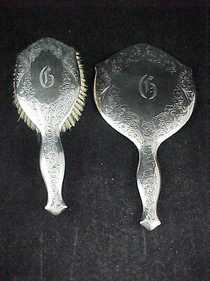 Beautiful Antique Sterling Silver  Brush & Mirror Set Floral Design