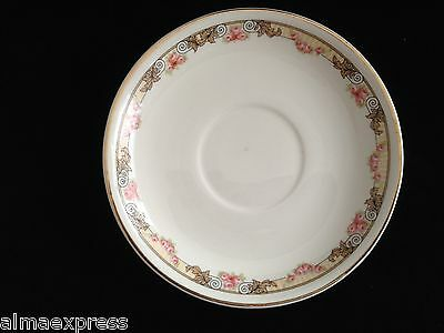 "KT&K Knowles Taylor Ivory Semi Vitreous China Roses Yellow 5-1/2"" TEA CUP SAUCER"