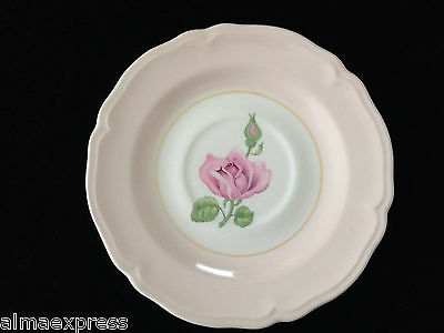 "Edwin KNOWLES KN0601 China Scalloped 1942 6"" TEA CUP SAUCER PINK ROSE BUD BAND"