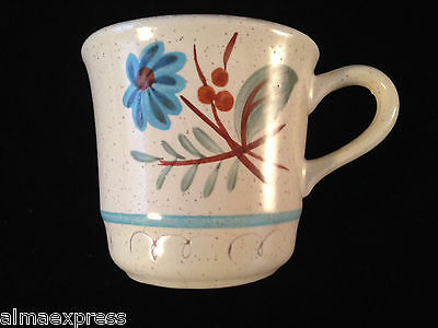 Stangl Pottery Hand Painted BLUE DAISY - TEA CUP / COFFEE CUP / SNACK PLATE CUP