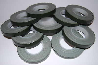 TEN x Green Florist POT tape 9mm x 10m rolls POST FREE = TOOL BOX ESSENTIAL