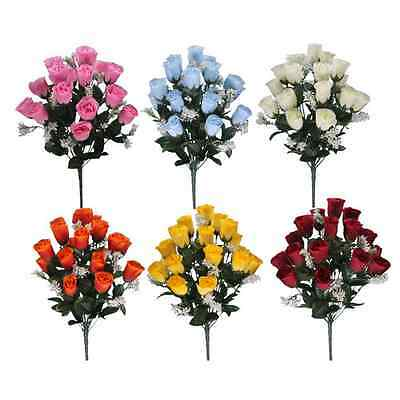 18 Heads Roses Bouquet with Gyps - Artificial Silk Flower Bunch