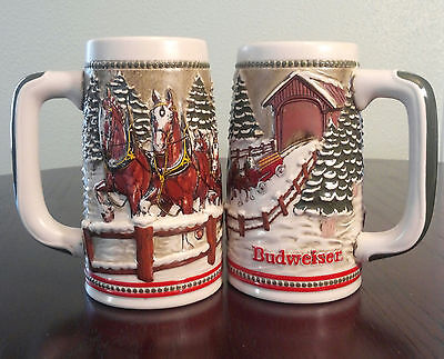 Set of 2 1984 Budweiser Clydesdales Vintage Collectable Holiday Beer Mug Lot