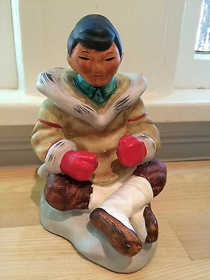 Modern Inuit / Eskimo Man Figurine Sculpture, Handpainted, Anchorage Alaska
