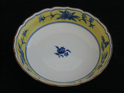 "Gorgeous Hand Crafted Porcelain Blue Cobalt ""Floral"" Yellow Bowl Made in Japan"