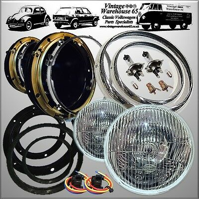 "Classic Mini Headlight  Bowl Kit 7"" Domed Glass With Pilot Chrome Rings & Wiring"