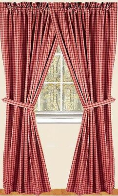 Raghu Red and Tan Primitive Country Style Lined Curtain Panels
