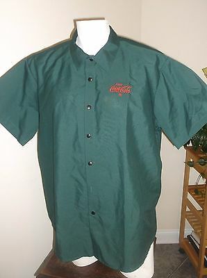 Vintage GREEN  Coca Cola UNIFORM SHIRT RIVERSIDE XL SHORT SLEEVE SNAPS