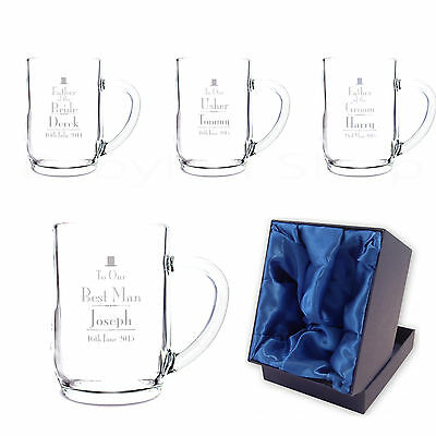 Personalised Wedding Day Beer Tankard Glasses - Thank You Favour Set Gifts