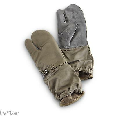 Used German Army Mitts Military Surplus Trigger-finger Mittens Olive WITH LINER