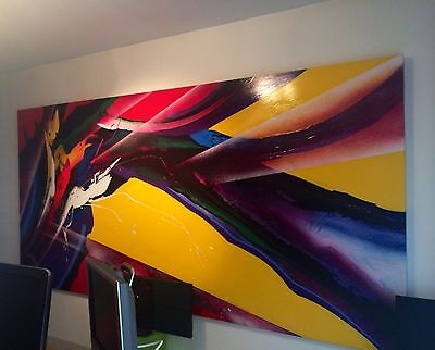 AWESOME VERY LARGE ORIGINAL ACRYLIC PAINTING BY ROY SCHALLENBERG.  ABSTRACT