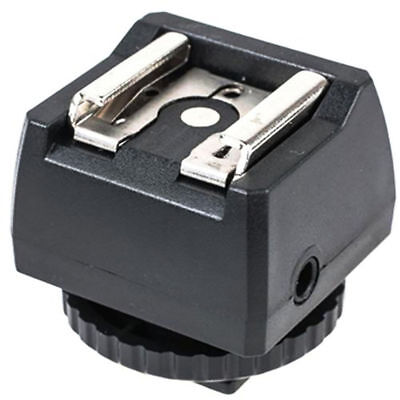 Mini Jack Port Outlet Socket JJC Hot Shoe Flash Adapter with PC Sync and 3.5mm
