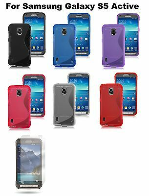 For Samsung Galaxy S5 Active TPU Rubber Soft Silicone Case Cover + Protector