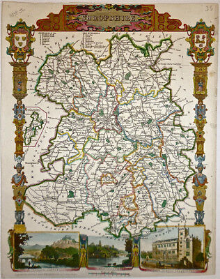 c.1840 Genuine Antique map Shropshire, England. Moule