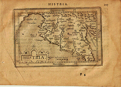 1609 Genuine Antique miniature map of western Yugoslavia. Histria. Ortelius