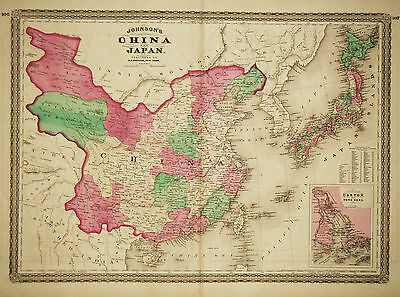 1868 Genuine Antique Hand Colored Map of China & Japan. Johnson