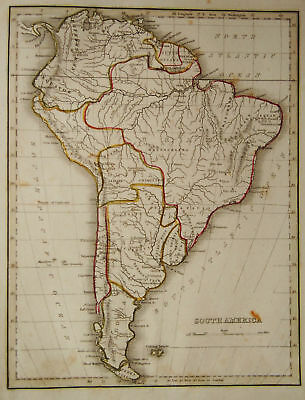 1835 Genuine Antique map of South America, Bradford