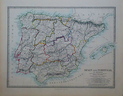 1847 Genuine Antique hand colored map of Spain and Portugal. SDUK