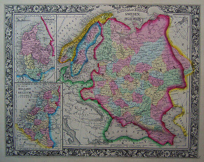 1860 Genuine Antique Map of Russia in Europe, & Scandanavia. A Mitchell
