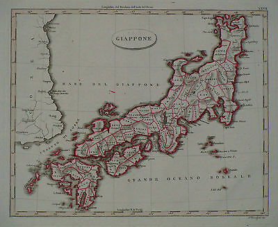 "1824 Genuine Antique Hand Colored Map of Japan, ""Giappone"". Luigi Rossi"
