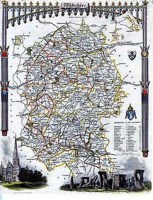 c.1840 Genuine Antique hand colored map of Wiltshire County, England. Moule