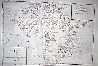 1780 Genuine Antique map of Africa by  Rigobert Bonne