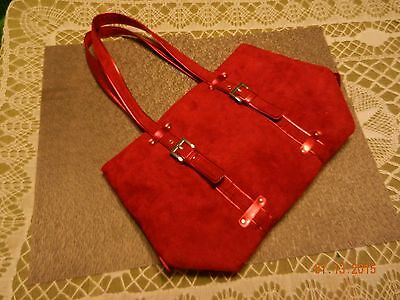Large Dark Rich Red Faux Suede Silver Accent - Double Handle Shopper/Tote Bag