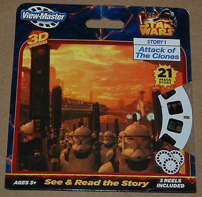 NEW!! View-Master 3D Adventures STAR WARS Attack of the Clones Story 3 Reels