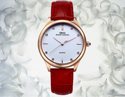 NEW Men's IBSO Good Quality Genuine leather Waterproof Crystal Wrist Watch 3816
