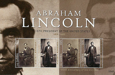Gambia 2011 MNH Abraham Lincoln 16th President of the United States 4v M/S I