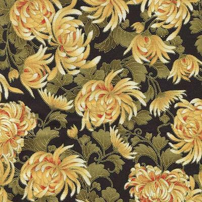 BY YARD-Imperial Gold Silver Fans Fabric Robert Kaufman 17667-91 Crimson Red