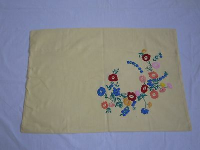 Beautiful Vintage Hand Embroidered Linen Pillow-case Floral