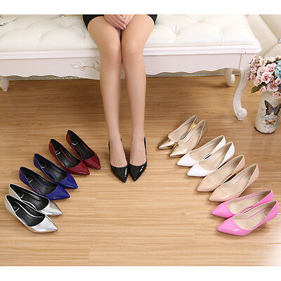 Hot Women Patent Leather Faux Suede Mid Heels Lady OL Office Pumps Slip On Shoes