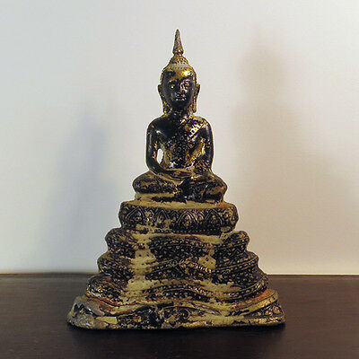Antique Thai Gilt & Lacquered Bronze Buddha on Coiled Naga Serpent Throne 19th C