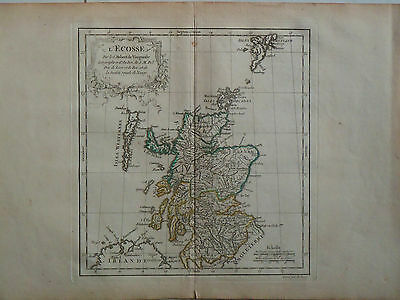 c1780 Genuine Antique hand colored map Scotland, Hebrides, Shetland. De Vaugondy