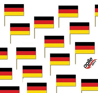 "50 Deko Picker 6,5 x 3,5 cm ""Deutschland"" Party Flaggenpicker Fahnenpicker"