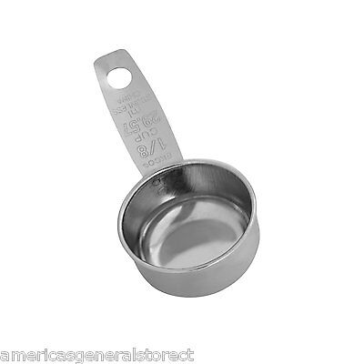EKCO COFFEE SCOOP 1/8 cup measure 29.57 ml stainless steel measuring silver tone
