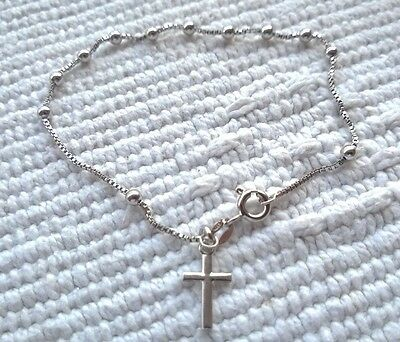 Sterling silver 925 catholic bracelet with rosary beads and cross pendant 7.5 in