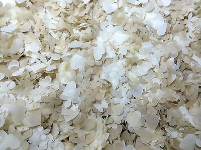 Large Biodegradable Confetti Box - 25 Handfuls/ Cones Champange & Ivory Hearts