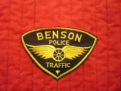 BENSON POLICE  TRAFFIC PATCH WITH WINGED WHEEL